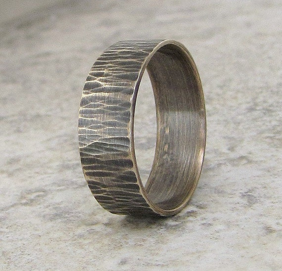 Mens Wedding Ring Bark Wedding Band Woodgrain Silver Ring