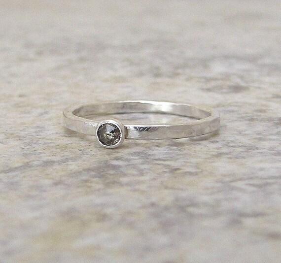 Diamond Engagement Ring Diamond Solitaire Ring Silver Diamond Ring