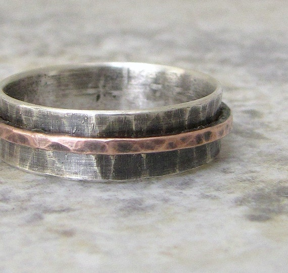 silver spinner ring copper hammered mens wedding ring wedding