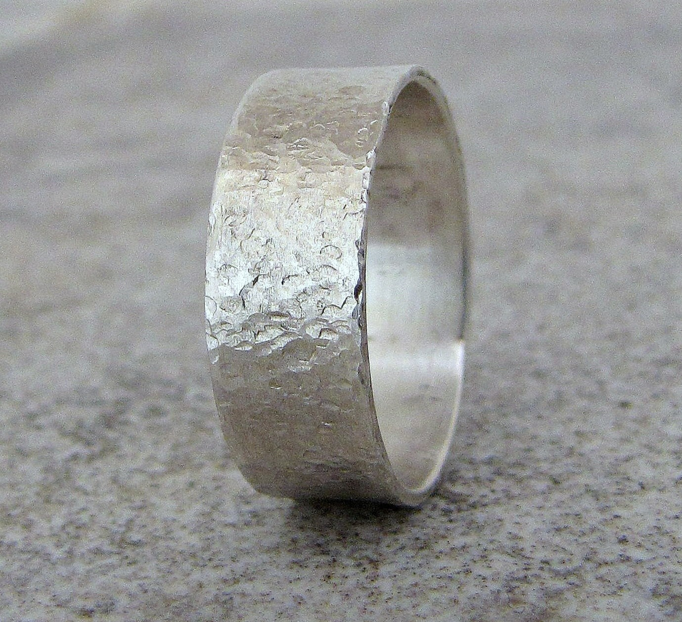 Mens Silver Ring Hammered Mens Wedding Band Rustic By Silversmack