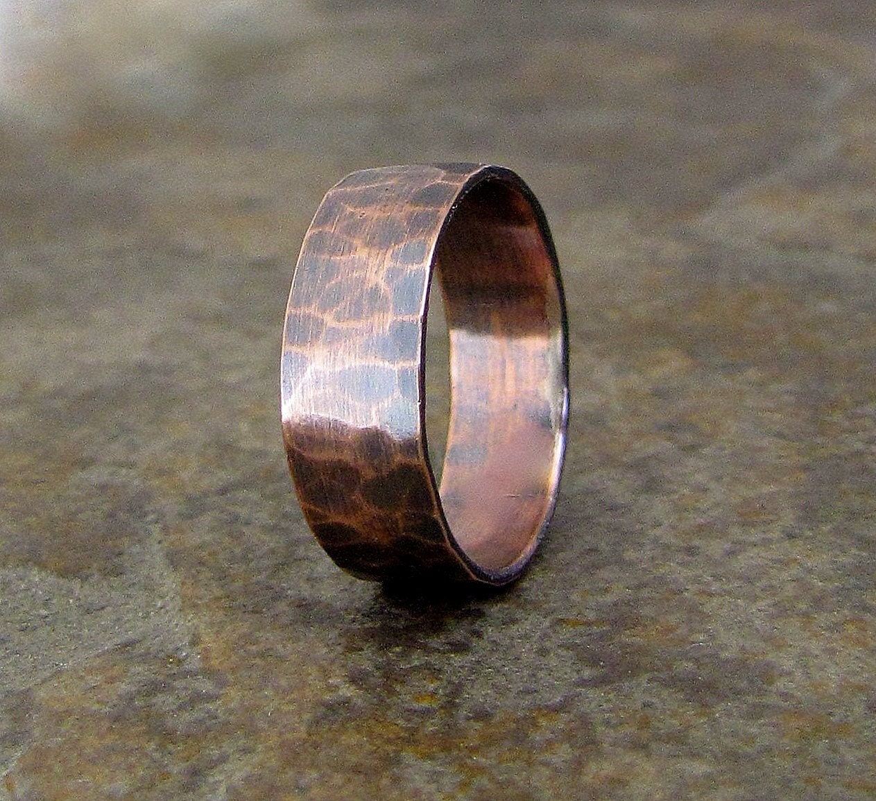 Banded Bands: Items Similar To Copper Hammered Ring Wide Oxidized