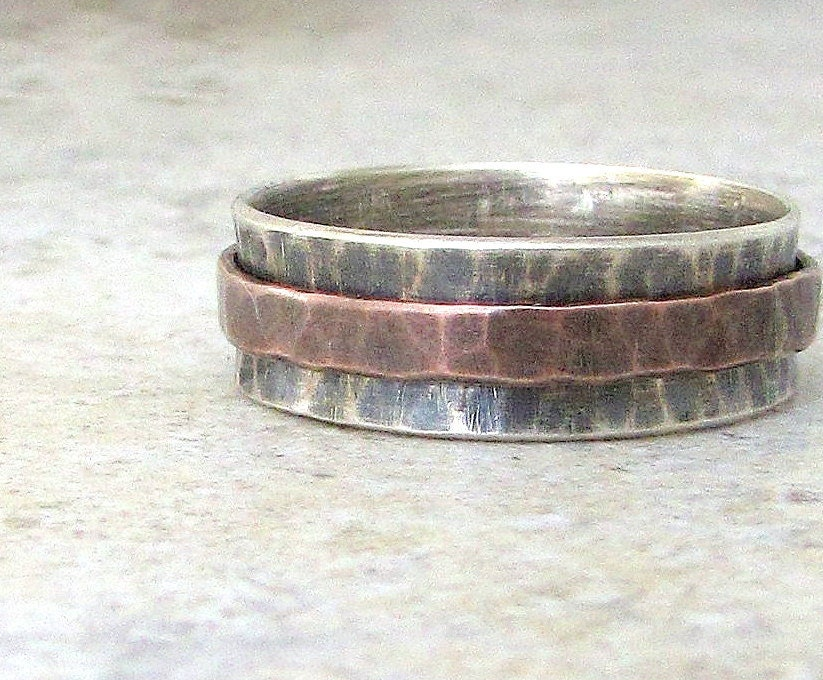 Mens Wedding Band Hammered Copper Spinner Ring Silver Rustic