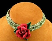 Leather Rose Choker