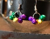 Mini Mardi Gras Bell Dangle Earrings