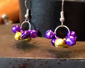 Mini Purple and Gold Bell Dangle Earrings