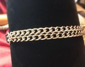 Double Chain Leather Collar