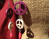 Long Peace Sign Dangle Earrings