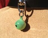 Tiny Sea Foam Green Bell on Black Leather Choker