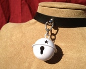Small White Bell on Black Leather Choker