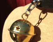 Small Gold Colored  Bell on Black Leather Choker