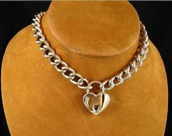 Chain Choker with Heart Padlock