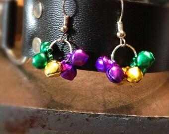 Mini Mardi Gras Bell Dangle Earrings