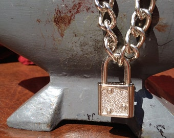 Chain Choker with Small Silver Colored Light-Weight Padlock