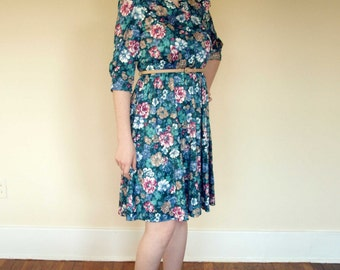CLEARANCE 80s Watercolor Floral Shirtwaist Dress S-M