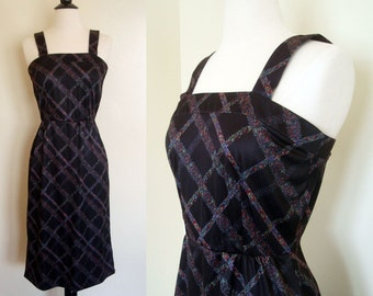 CLEARANCE 70s Dress / Vintage Abstract Floral Black Lattice Print Sun Dress Extra Small XS