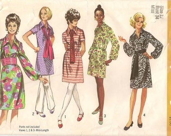 Simplicity 9219 Vintage Pattern, 1970, Size 12 B34 Dress and Sash