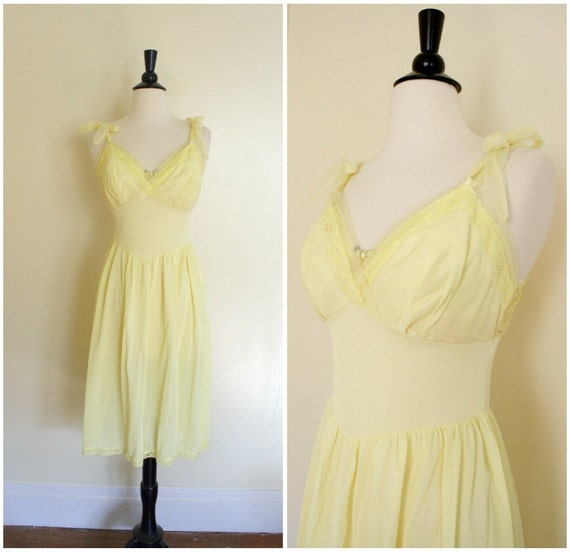 vintage 1960s Floaty Lemon Meringue Yellow Nightgown 34C