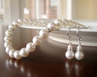 Bridesmaid Necklace and Earrings Set- Pearl and Rhinestone