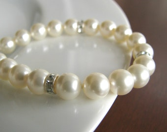 Bridesmaid Bracelet - Pearl and Rhinestone