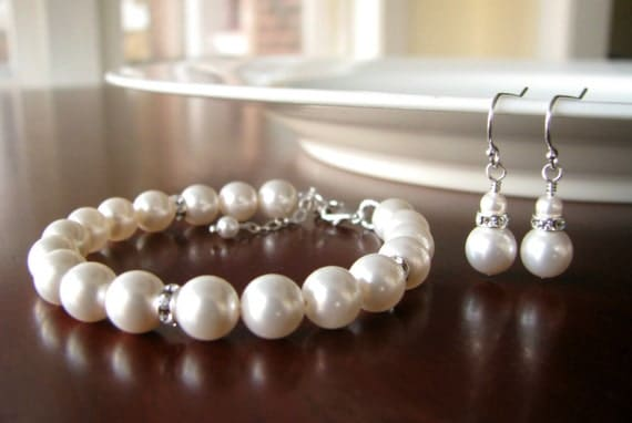 Bridesmaid Bracelet and Earrings Set- Pearl and Rhinestone
