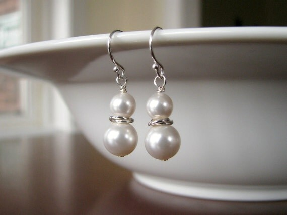 Bridal Earrings - White Pearl and Silver