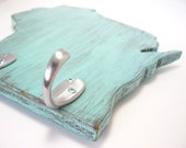 Wisconsin - light turquoise wood wall hook