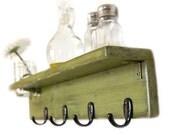 Key Hooks WOOD SHELF with jelly jar FOUR HOOK