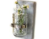 rustic decor floral vase glass vase primitive style wooden home decor - single vase
