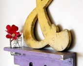 shabby chic wedding ampersand cottage sign wood Yellow