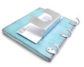 Mail Organizer key hooks coat hanger beach decor wood hooks - Light Turquoise