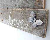 upcycled shabby chic sign Love wall decor butterfly beach decor OOAK