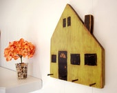 rustic wooden house wall organizer hand painted Avocado Green Black
