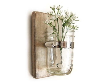 Wall vase - cottage chic - wood with mason jar - Metallic Taupe - single