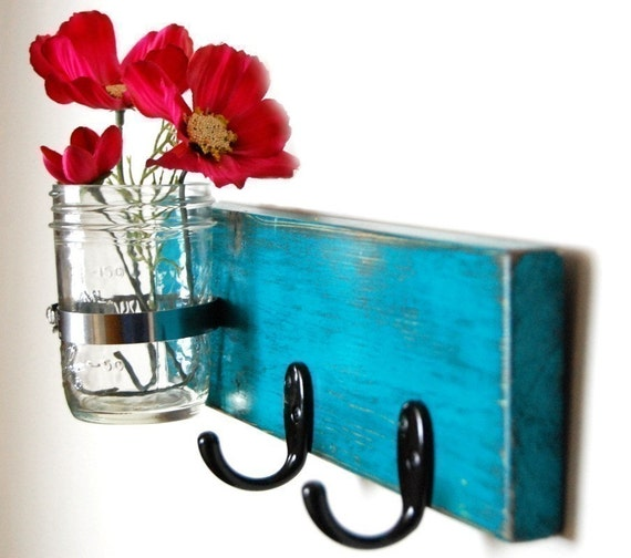 ON SALE!  wall key hanger with vase Dark Turquoise on Etsy
