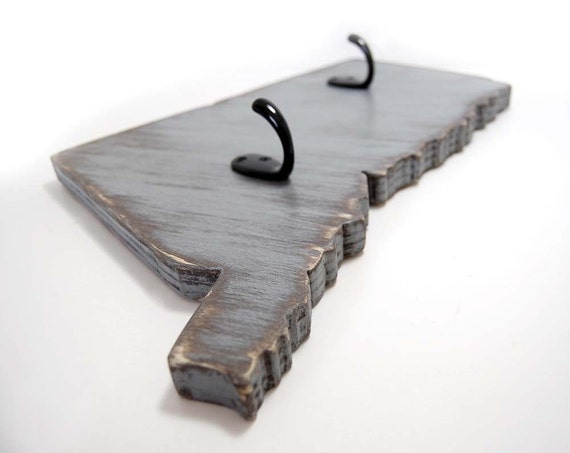 Wall Decor With Key Hooks : Connecticut key hook wall decor home organizer wood slate gray