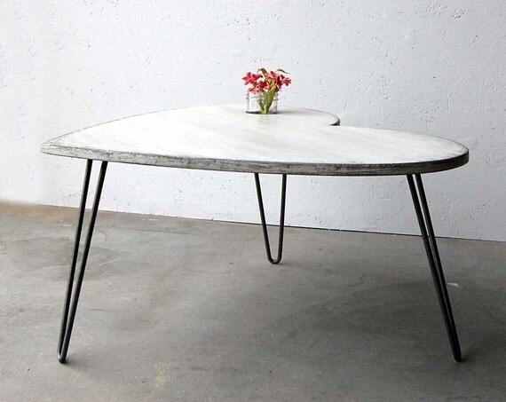 Shabby Chic Table Side Coffee Table Vintage White Retro Heart