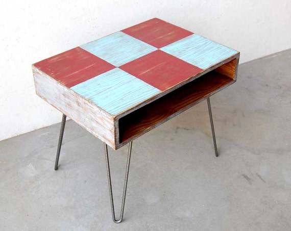 Wood Coffee Table Mid Century Painted Hairpin Legs Metal