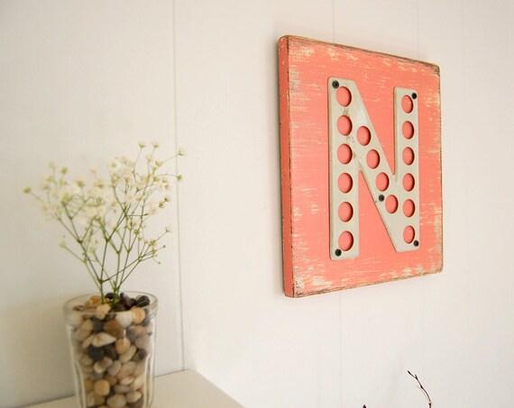 metal letter N wood vintage highway sign Coral Melon Cream