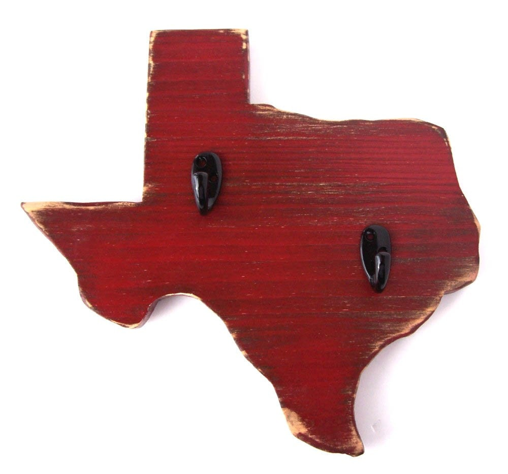 Texas Wood Wall Key Hook Corona Red