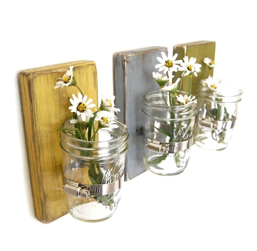 Wall Sconces With Vases : Shabby chic vases sconce mason jar wood vase wall by OldNewAgain