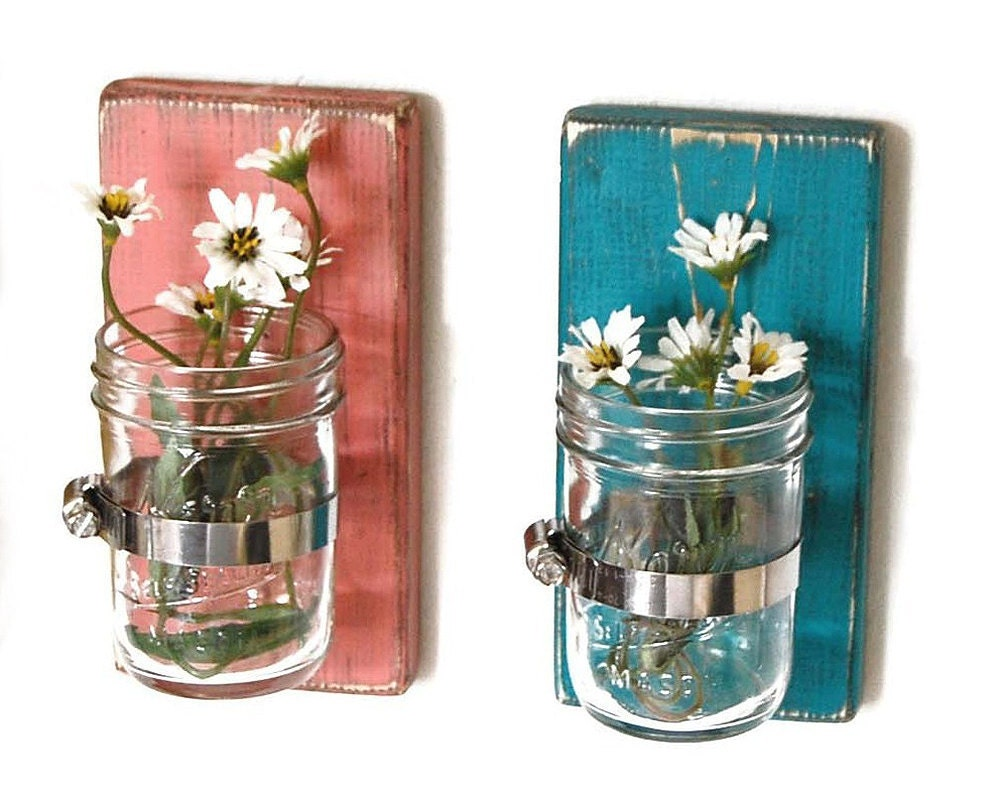 Wall Sconces Flower Vases : wood sconce mason jar wall vase french country by OldNewAgain