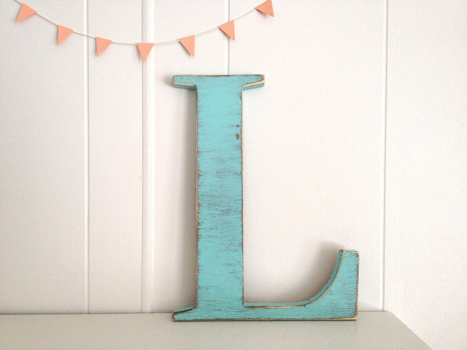 Decoration wood letters french cottage wall decor by for Party wall letter template