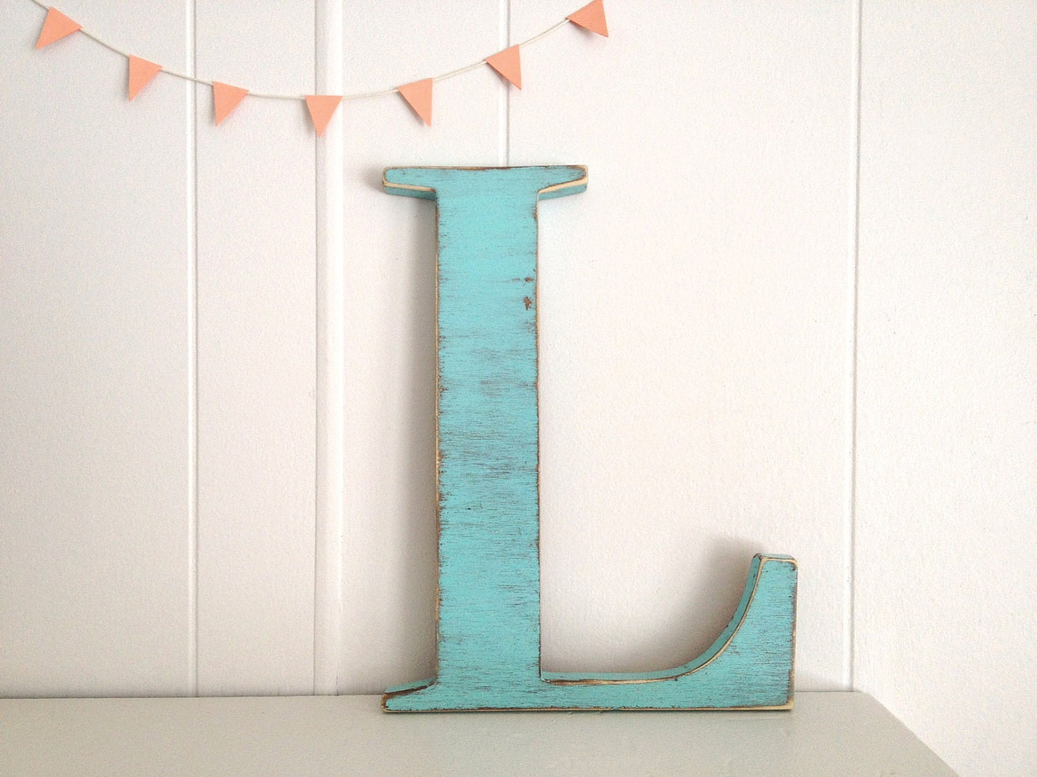 Decoration wood letters french cottage wall decor by Wall letters decor