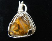 SALE   Petersite Sterling Silver Wire Wrapped Pendant