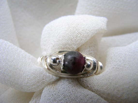 Ruby  Zoisite Sterling Silver Wire Wrapped Ring size 6