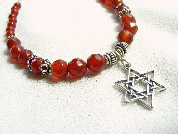 Sterling Star of David Genuine Faceted Carnelian  Judaica Necklace