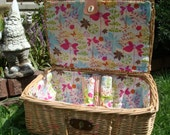 Re-Lined Vinty Pic Nic Basket reserved for alsxlove