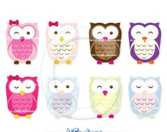 Pink and Cute Owls Clip Art