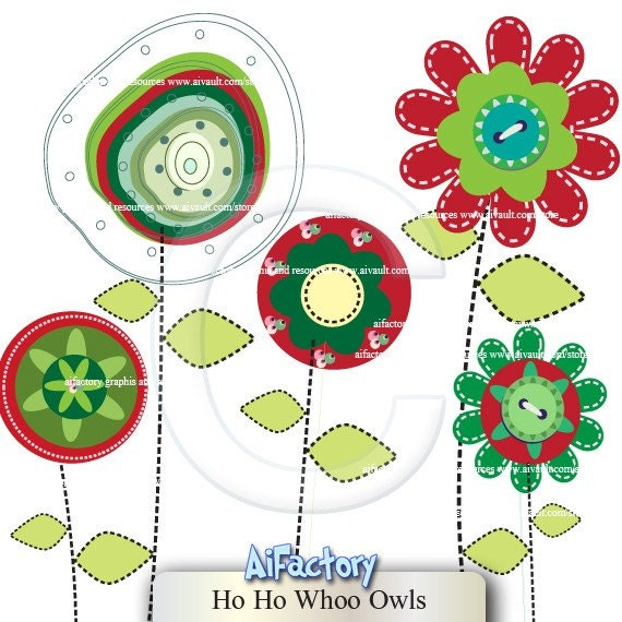 Christmas Clip Art Christmas Round Abstract Flowers for decoration > Christmas Clip Art > Flower Clipart > Red , green holiday images