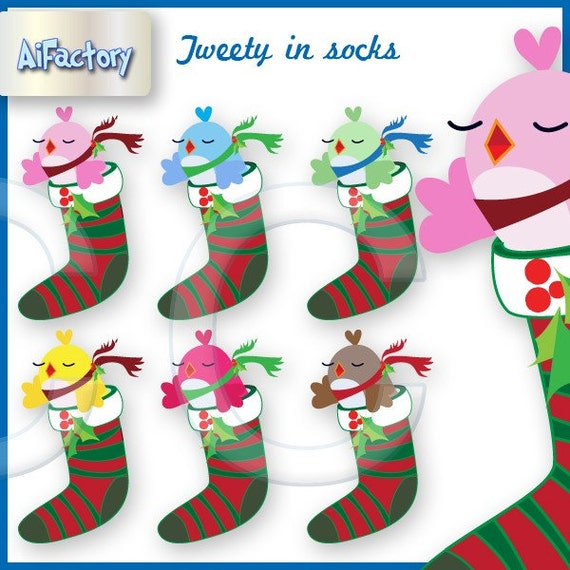 Christmas Clip Art Twitter Bird Graphics in Christmas socks Clipart > Christmas Graphics >  singing birds in socks , Christmas stockings